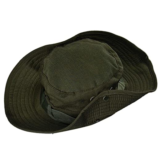 fa072914487 Amazon.com  Besooly Summer Outdoor Boonie Hat Hunting Fishing Safari Bucket  Hat Sunhat with Strap Adjustable Unisex (Army Green)  Clothing