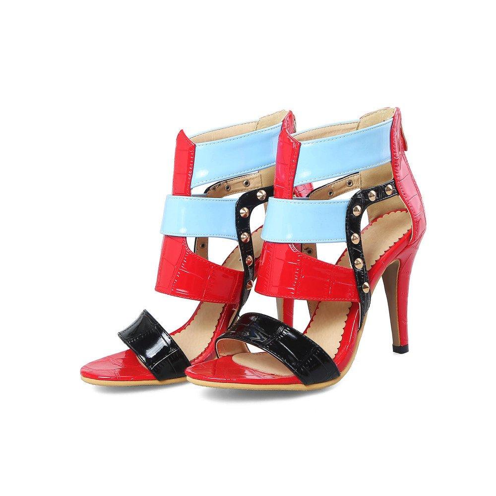 Tacón De Aguja De Las Mujeres Peep Toe Gladiador Strappy Tacones Altos Fiesta De Boda Prom Sandalias Zapatos Tamaño EU39/245 Red