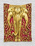 Ambesonne Elephant Tapestry, Yellow Toned Elephant Motif on Door Thai Temple Spirituality Statue Classic, Wall Hanging for Bedroom Living Room Dorm, 40 W X 60 L Inches, Fuchsia Mustard