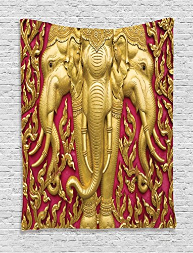 Ambesonne Elephant Tapestry, Yellow Toned Elephant Motif on Door Thai Temple Spirituality Statue Classic, Wall Hanging for Bedroom Living Room Dorm, 40 W X 60 L Inches, Fuchsia Mustard by Ambesonne