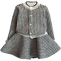 Girls Dress,Haoricu 2017 Hot Sale Autumn Winter Toddler Kids Plaid Knitted Sweater Dress Set Baby Girls Coat Tops+Skirt Set