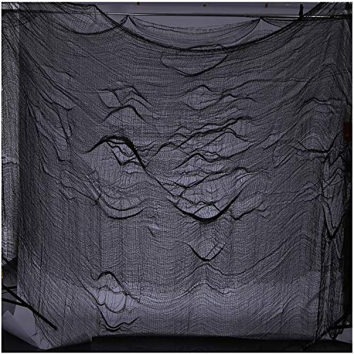 CAMTOP Halloween Creepy Cloth, Haunted Houses Decorations Cloth for Spooky Party, 8.7 Yards x 79 Inch, Black by CAMTOP