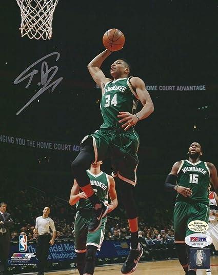 03b2be61e8c5 Giannis Antetokounmpo Autographed Signed Greek Freak Bucks Autographed  Signed 8x10 Picture PSA DNA