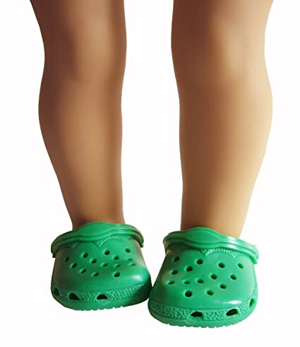 9afb442cb846e5 Image Unavailable. Image not available for. Color  Kelly Green Kroc Duc  Shoes Fits American Girl Doll ...