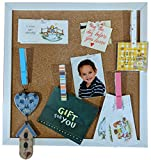 HL Enterprise Cork Board Bulletin Board 12 x 12-Inch Tile with White Frame & 4 Clothespins Push Pins