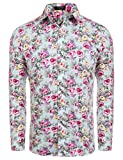 COOFANDY Mens Floral Print Slim Fit Long Sleeve Casual Button Down Shirt