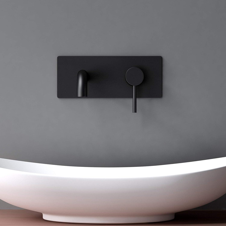 Argento Rubinetto Lavabo a Parete per bagno WA112 con Corpo a Incasso Mai /& Mai Miscelatore per Lavabo a Muro