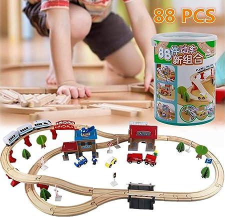 Dufeng 88 Piezas de Madera Sistema de Tren eléctrico, Juegos de Trenes de Juguete for niños y Regalo del niño for Navidad y cumpleaños for niños y niñas: Amazon.es: Hogar