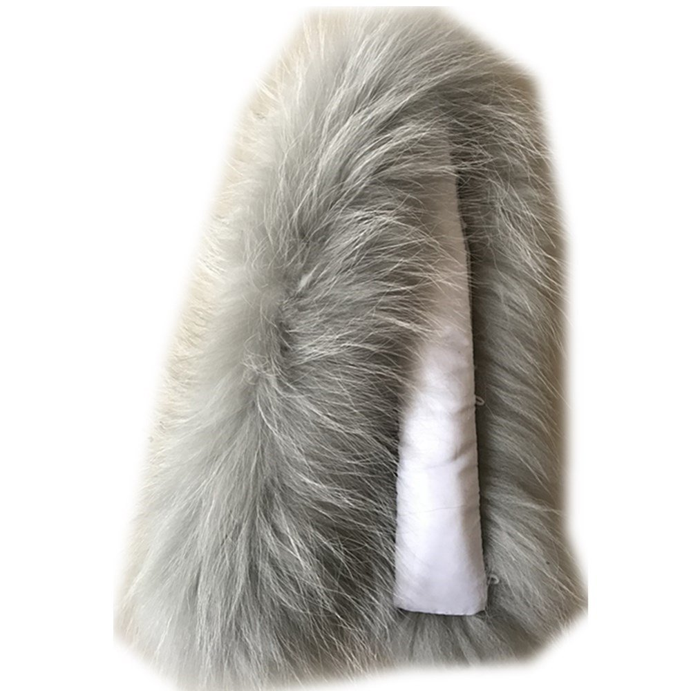 Grey2 Extra Large Women's Raccoon Fur Collar for Winter Coat
