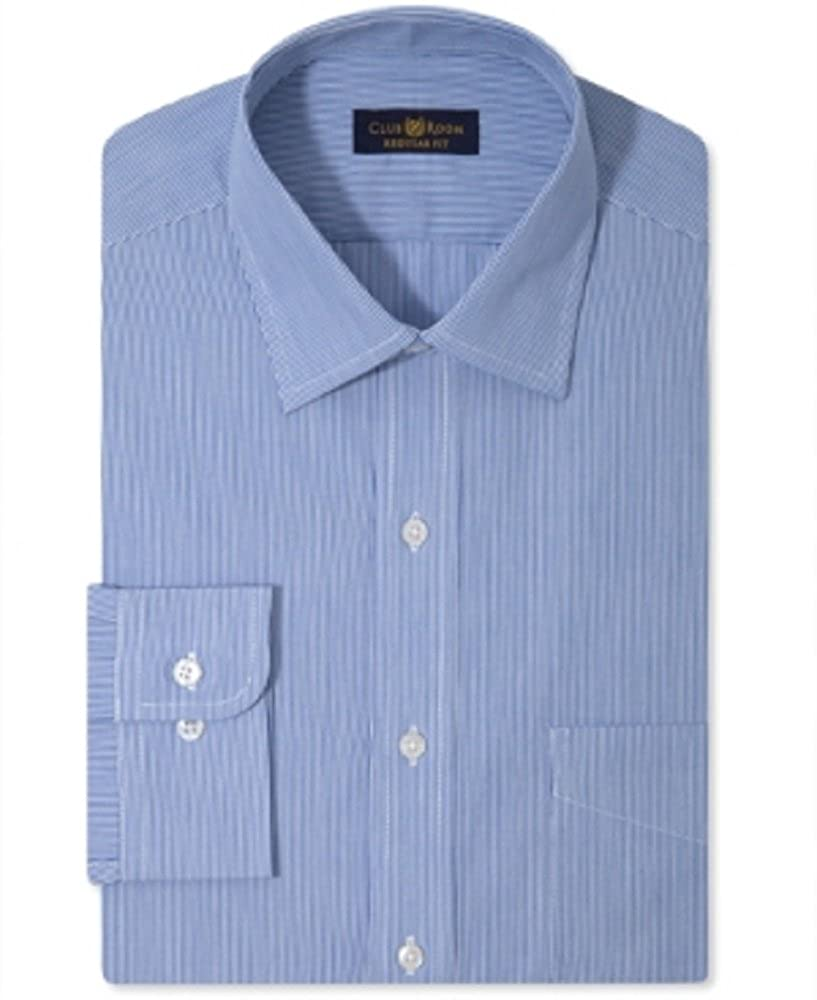 Club Room Estate Big and Tall Wrinkle Resistant Blue Hairline Stripe Dress Shirt