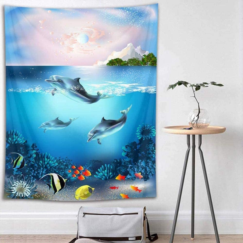 Dolphin Tapestry Tropical Fish and Coral Reef Under Sea Water Wall Hanging Fantasy Ocean Tapestries for Kids Bedroom Living Room Dorm Wall Decor Birthday Party Backdrop 60x40 inches