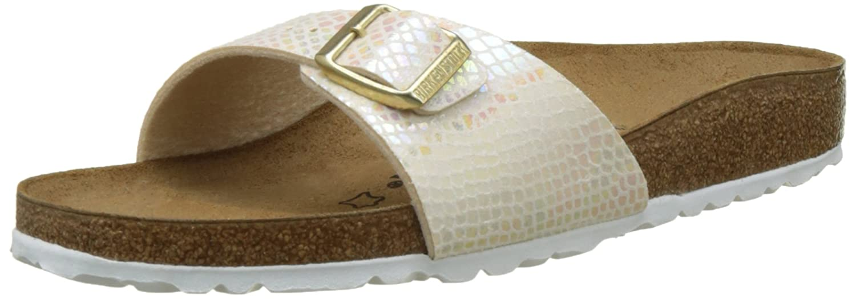 BIRKENSTOCK Classic Damen Madrid Birko-Flor Pantoletten  41 EU|Beige (Shiny Snake Cream)