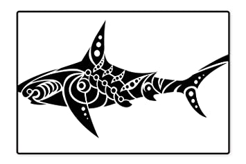 Amazoncom Collection Area Rug Shark Tattoo Design In Black And