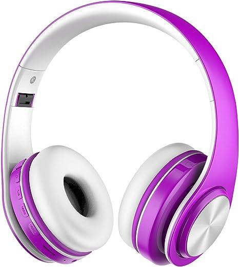 Alitoo Auriculares Inalámbricos Bluetooth, Wireless Headphones Plegables con Micrófono, Estéreo Plegable Auriculares de Diadema Cancelación de Ruido para Smartphones, PC, TV, Tableta(Púrpura y Blanco): Amazon.es: Electrónica