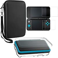 Protective Cases Compatible New 2DS XL with Screen Protectors, AFUNTA 1 Crystal Clear Case and 1 EVA Carrying Case for Console, with 2 Pcs Anti-Scratch Tempered Glass Films for Screens