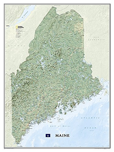 National Geographic: Maine Wall Map - Laminated (30.25 x 40.5 inches) (National Geographic Reference Map)
