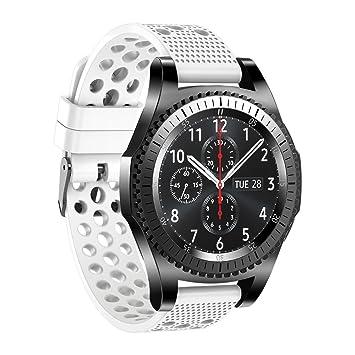 Correa de reloj de silicona para Samsung Gear S3 Classic, para hombre y mujer, 22 mm, blanco: Amazon.es: Deportes y aire libre