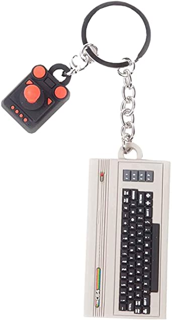 Commodore Keyring Keychain C64 Console And Joystick 3D Rubber New Official Multi