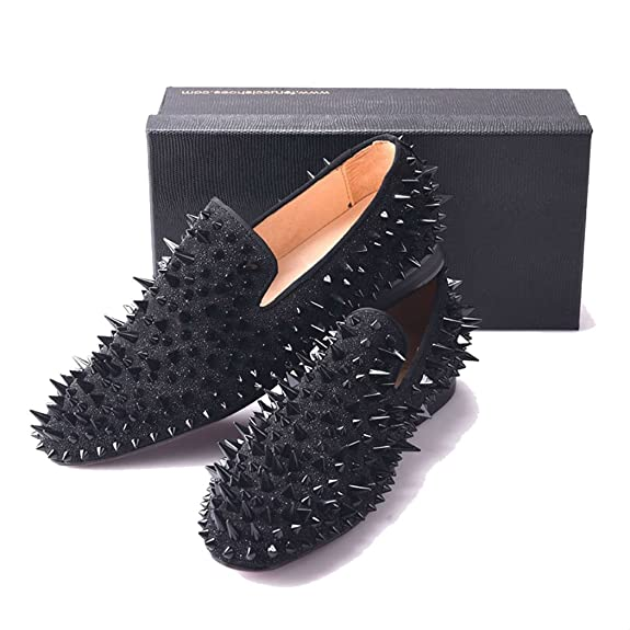 Amazon.com | FERUCCI Men Black Spikes Slippers Loafers Flat with Crystal GZ Rhinestone | Loafers & Slip-Ons