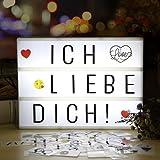 Lightbox | Lichtbox | infinitoo led Leuchtkasten A4 mit 98 buchstaben und 28 weiß Symbole 55 bunten emoji für Innenbeleuchtung Deko, Stimmungbeleuchtung, Nachtorientierungslicht, Weihnachten, Valentinstag, Hochzeit, Party und Haus Deko
