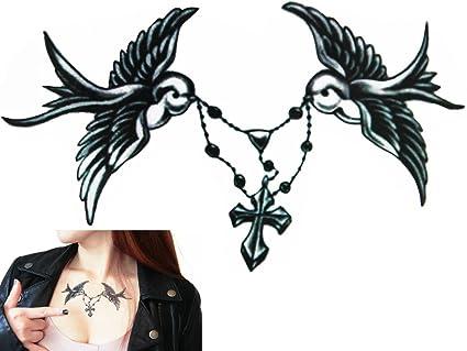 Novu Ink Tattoo Artist transferencia resistente al agua Tatuaje Temporal Doves and Rosary / Palomas