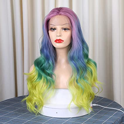QLSGO Pelucas de cabello largo y rizado arcoíris rosa azul ...