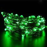 イルミネーションライト ストリングライト LED 2m 電球数20 電池式 結婚式 誕生日 飾りライト スター 電飾 室内室外 防水 電球色 (グリーン)