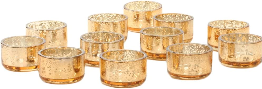 Koyal Wholesale Mercury Tealight Candle Holders, 12-Pack Set, Petite Aged Vintage Glass Candle Containers for Tea Light Candles, Battery Operated Tealight Candles, Tealight Votives (Rose Gold)