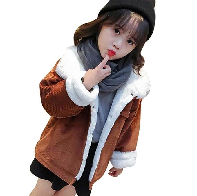 Bebé niña Pana pecho sencillo abrigo con pelo, Yannerr Chica invierno primavera acolchado chaqueta sudadera