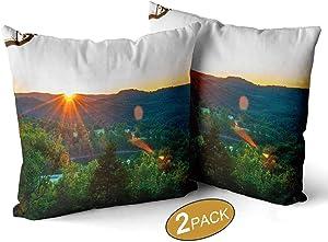 "Nine City Eureka Springs Sunset,Throw Pillow Cushion Cover Sofa Bed Throw Cushion Cover Decoration Set of 2 12"" X 12"""