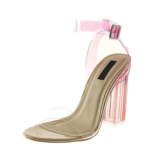 Angkorly Zapatillas Moda Tacón escarpín Sandalias Correa de Tobillo Mujer Tanga Transparente Flashy Tacón Ancho Alto 12 cm: Amazon.es: Zapatos y ...