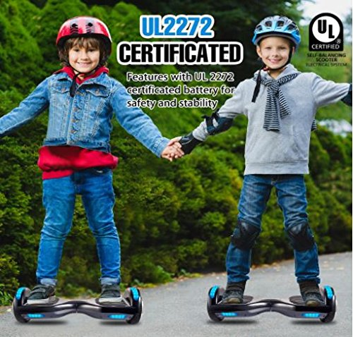 VEEKO Hoverboard 6.5'' Two Wheel Smart Self Balancing Scooter with Bluetooth Speaker, Black, Safe UL2272 Certified, Fun Cool Top LED Flashing Light and Front LED Light, for Adults and Kids