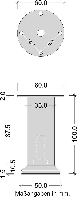 Moderner Metall Schrank-Fu/ß f/ür Kommoden /& Sofas Kastenfu/ß mit Platte Vera Moderner Sofafu/ß rund mit H/öhe 85 mm Gedotec Design M/öbelfu/ß h/öhen-verstelllbar Sockelfu/ß Edelstahl-Optik 1 St/ück