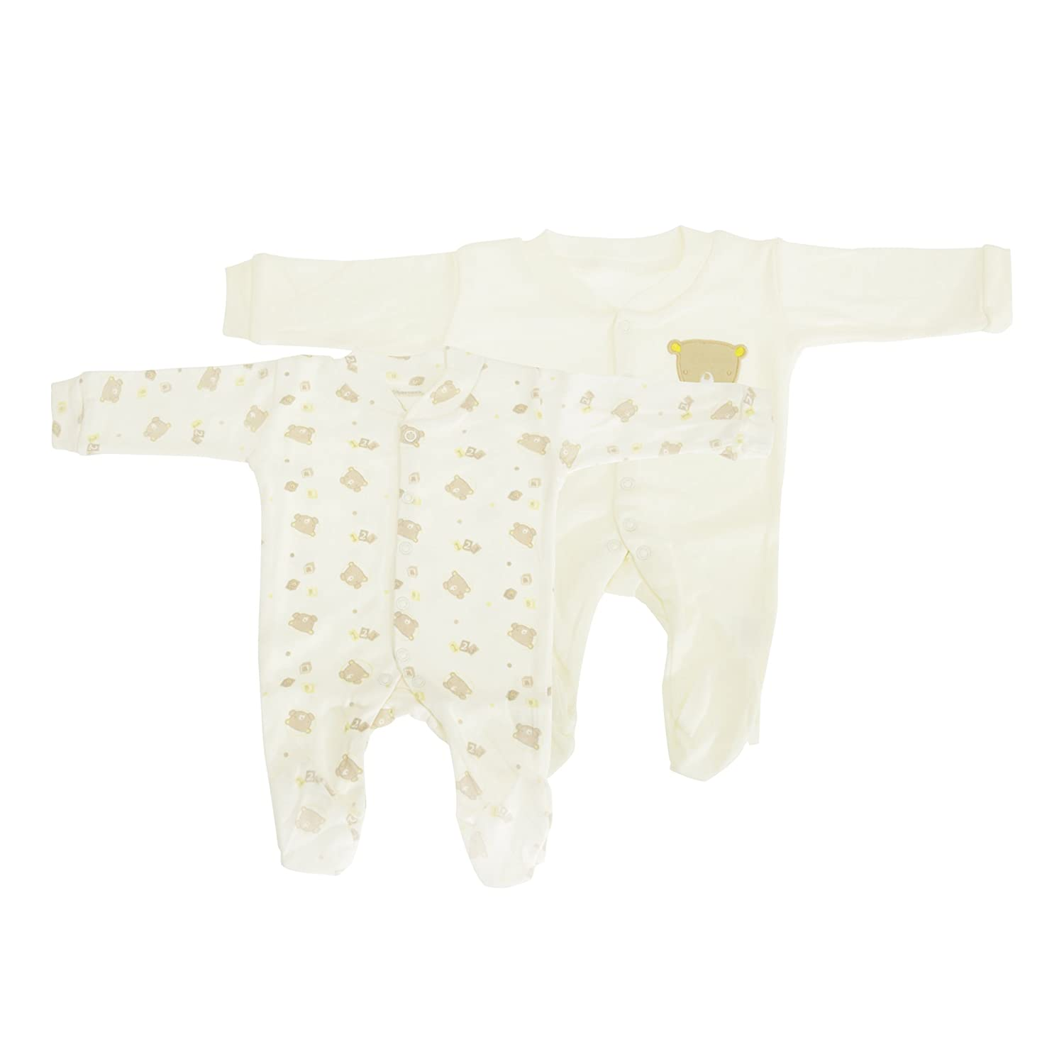 Pale Yellow Newborn Baby Long Sleeve 100/% Cotton Sleepsuits -3 Designs Boys//Girls Options Pack of 2