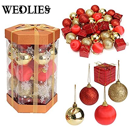 generic ball bauble 24 pcsbucket christmas tree decor hanging party ornament decorations for home