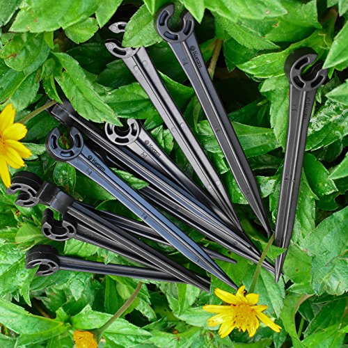 KORAM 100 Pack Plastic Irrigation Support Stakes for 1/4-Inch Tubing Hose Holder for Vegetable Garden, Flower Beds, Herbs, Garden