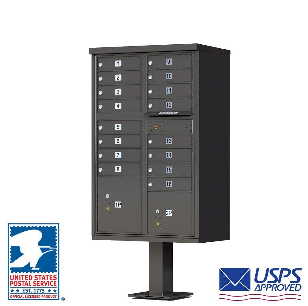 Vitalクラスタボックスユニットメールボックス、16、2区画ロッカー、ダークブロンズ B003XFG98Q