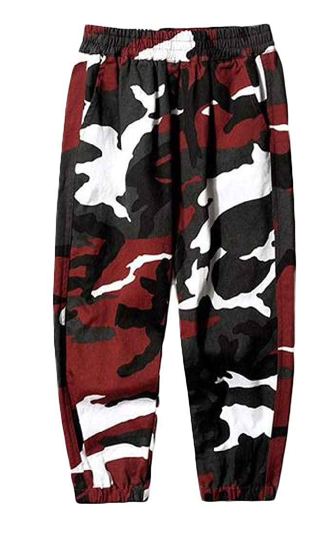 Pluszing Big Boys' Jogging Elastic Waist Camouflage Sports Hip-Hop Pants