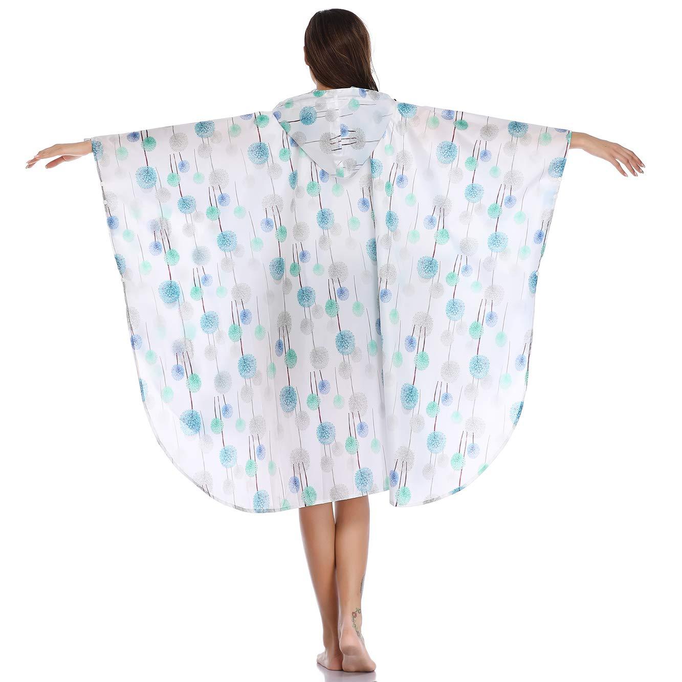 Summer Mae Imperméable Poncho avec Capuche Zip pour Adulte Pissenlit Blanc