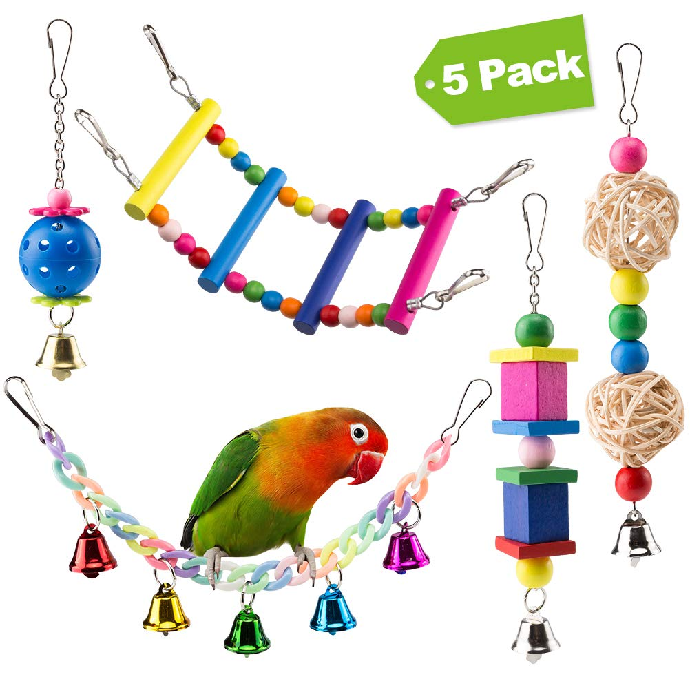 Mihachi 5pcs Bird Parrot Toys Parakeet Toys - Hanging Bell Hammock Swing Toy for Small Pet Birds, Parakeets, Parrots, Love Birds by Mihachi
