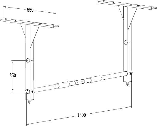 POWRX - Barra Dominada I Pull Up - Barra de Techo para Montaje I Soporta hasta 100 kg I Fácil Instrucciones de Montaje fijación