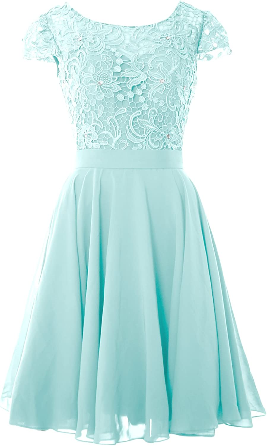 MACloth Women V Neck Wedding Party Dress Short Lace Prom Homecoming Formal Gown