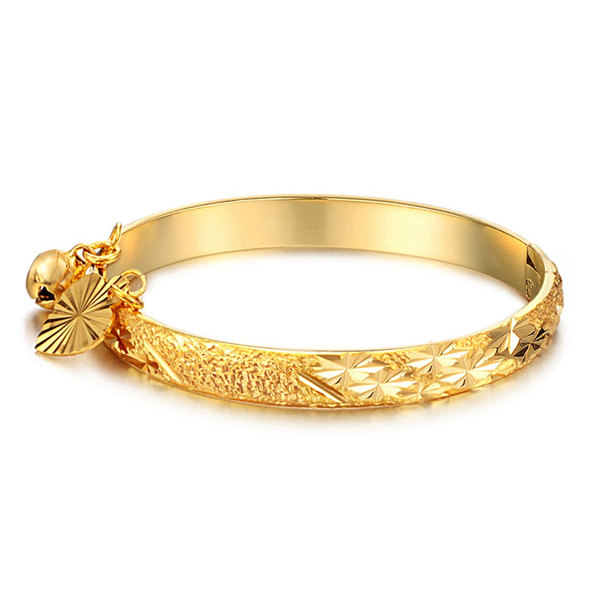 FCZDQ 18K Gold Plated New Born Baby Bangle Bracelet Lucky Bell Heart Leaf Cuff Jewelry Infant