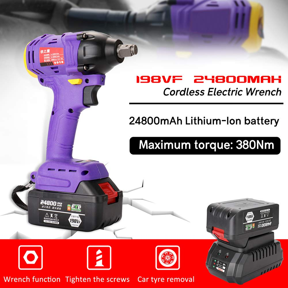 LKSDD Impact Wrench,198VF 24800Mah Cordless Electric Screwdriver 380Nm 3//8 Inch Driver 2 in 1 Lithium Battery Brushless Key Key Impact High Torque