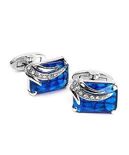 Uomo Rettangolo Blu Gemelli Cristallo Link Camicia Gemelli Regalo Di Festa Di Nozze Dello Sposo