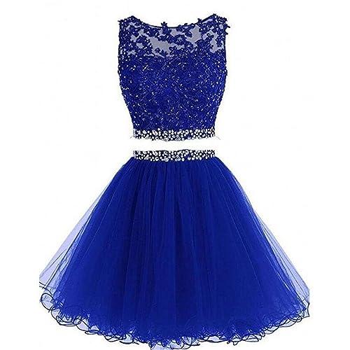 Dydsz Womens Prom Dress Short Homecoming Party Dresses Juniors 2 Piece Beaded A Line D127