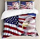 American Flag Decor Duvet Cover Set by Ambesonne, Bless America Flag in the Wind with Eagle Icon Double Exposure Citizen Image, 3 Piece Bedding Set with Pillow Shams, Queen / Full, Multi