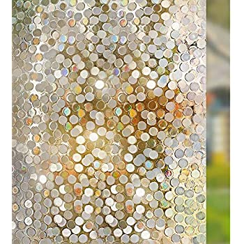 rabbitgoo 3D Decorative Window Film, No Glue Privacy Rainbow Window Sticker, Non-Adhesive Glass Films for Home Kitchen, Removable Window Tint Film for Bedroom Living Room, 17.5 x 78.7 inches