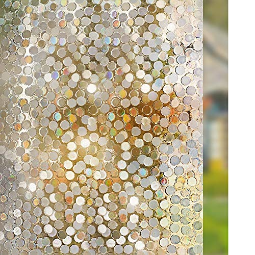 Rice Vinyl Shower Curtain - Rabbitgoo No Glue Privacy Window Film Decorative Window Film Static Cling Window Film Circles Pattern Glass Film for Home Kitchen Office Bedroom Living Room 17.5