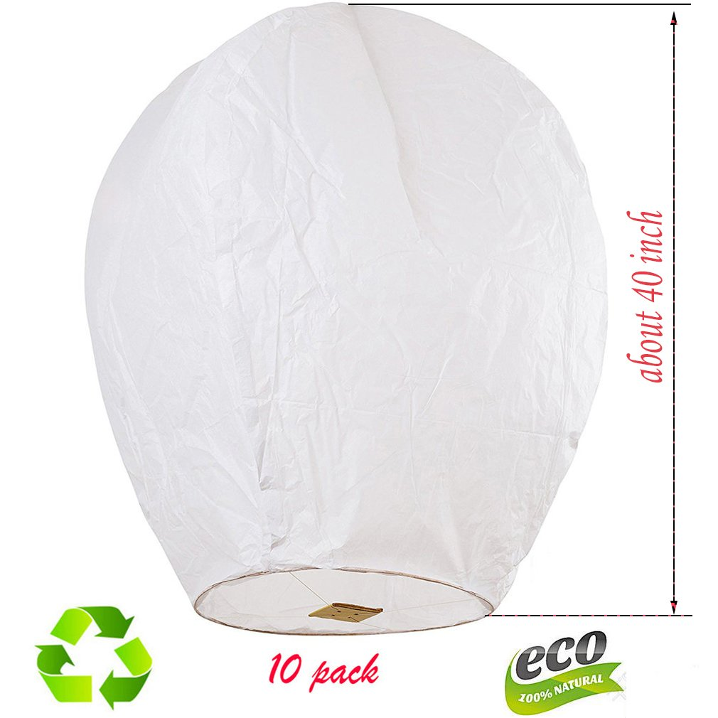 Nuluphu Sky Lanterns 10-Pack, Fully Assembled and100% Biodegradable (No Iron Wire),for Any Birthdays, Parties, New Years,Funeral, Memorial Ceremonies, and More (White) by Nuluphu (Image #1)